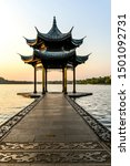 The beautiful landscape scenery of Xihu West Lake and pavilion in Hangzhou CHINA.