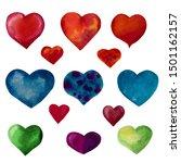 set of watercolor multi colored ... | Shutterstock . vector #1501162157