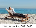 young businessman relaxing on a ... | Shutterstock . vector #150116435