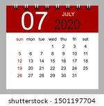 simple desk calendar for july... | Shutterstock .eps vector #1501197704