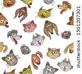 puppy and kitten   cartoon...   Shutterstock . vector #1501207301