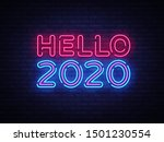 2020 hello neon sign vector.... | Shutterstock .eps vector #1501230554