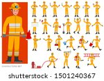 Set Of Firefighter Character...
