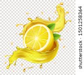 half of a lemon  juicy slice of ... | Shutterstock .eps vector #1501258364