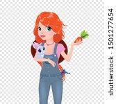 farmer girl with rabbit and... | Shutterstock .eps vector #1501277654
