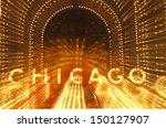 CHICAGO, ILLINOIS - CIRCA 1999: Detail of Neon Sign on Chicago Theater, Chicago, Illinois - stock photo