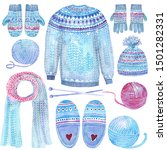winter clip art with pullover ... | Shutterstock . vector #1501282331