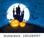 two happy pumpkins with castle... | Shutterstock .eps vector #1501283957