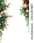 floral frame of pink and red... | Shutterstock . vector #1501287887