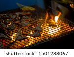 pieces of lamb being grilled in ... | Shutterstock . vector #1501288067