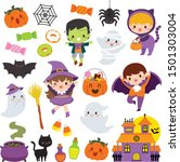 halloween clipart set with cute ... | Shutterstock .eps vector #1501303004