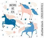 unicorns are real. set with... | Shutterstock .eps vector #1501335311