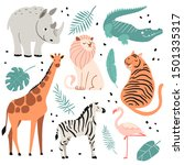 cute exotic animals set. funny... | Shutterstock .eps vector #1501335317
