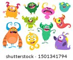 cute cartoon monsters. set of... | Shutterstock .eps vector #1501341794