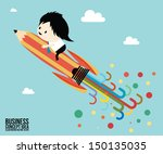 abstract pencil rocket concept... | Shutterstock .eps vector #150135035