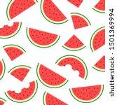 watermelon pattern vector. flat ... | Shutterstock .eps vector #1501369994