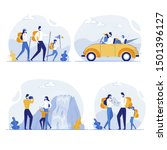 happy family hiking and...   Shutterstock .eps vector #1501396127