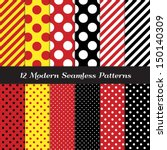 Jumbo Polka Dots, Small Polka Dots and Diagonal Stripes Patterns in Red, Black, White and Yellow. Perfect for Pirate birthday party background. Pattern Swatches made with Global Colors. - stock vector