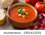 Tomato Soup In Brown Bowl On...