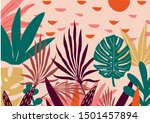 tropical flowers  palm leaves ... | Shutterstock .eps vector #1501457894