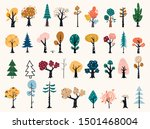set of trees in a flat style.... | Shutterstock .eps vector #1501468004