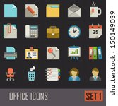 collection of flat office icons ...