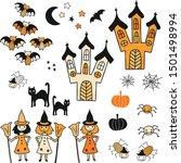 halloween vector icon set. cute ... | Shutterstock .eps vector #1501498994