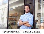 portrait of male owner standing ... | Shutterstock . vector #1501525181