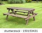 Garden Bench On A Lawn
