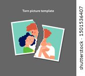 torn photo of a couple template.... | Shutterstock .eps vector #1501536407