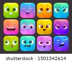 funny carton square faces set....