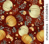 autumn pumpkins with maroon... | Shutterstock .eps vector #1501608461
