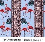 tropical wildlife  flamingo...   Shutterstock .eps vector #1501646117