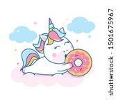 cute unicorn lying down on... | Shutterstock .eps vector #1501675967