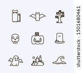 vector icon set with halloween... | Shutterstock .eps vector #1501680461