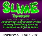 green glowing toxic slime font. ... | Shutterstock .eps vector #1501712801
