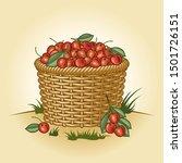 retro basket of cherries.... | Shutterstock . vector #1501726151