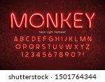 neon light 3d alphabet  extra... | Shutterstock .eps vector #1501764344