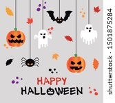 halloween card with different... | Shutterstock .eps vector #1501875284
