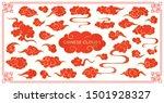asian cloud red set.... | Shutterstock .eps vector #1501928327