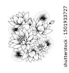 lotus flowers vector tattoo art.... | Shutterstock .eps vector #1501933727