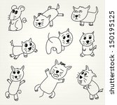 hand draw cartoon cat icon | Shutterstock .eps vector #150195125