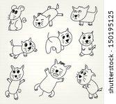 hand draw cartoon cat icon