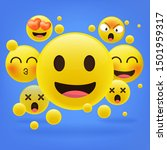 yellow emoticons in front of a... | Shutterstock .eps vector #1501959317