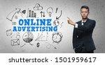 asian businessman pointing ... | Shutterstock . vector #1501959617