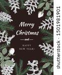 christmas botanical card.... | Shutterstock .eps vector #1501981901