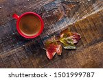 Red Cup Of  Coffee And  Autum...