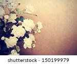 Stock photo white roses retro tinted photo 150199979
