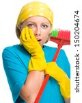 young woman   cleaning maid... | Shutterstock . vector #150204674