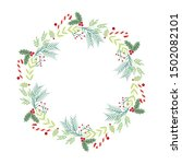 christmas wreath. holidays... | Shutterstock .eps vector #1502082101